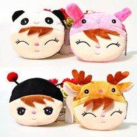50 pcs/lot Adorable plush cartoon purse Angela cute girl Little Rabbit/Beetle/little Deer/Panda 4 styles for choice