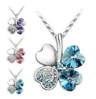 (Min order$10) Free Shipping!TKorean jewelry love heart necklace Lucky Clover Necklace with chain!#161