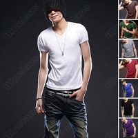 Mens Short Sleeve Casual V-Neck Base Shirts T-shirt XS S M L Size Hot  selling