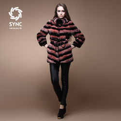 11.11 rex rabbit goatswool slanting stripe long design fur coat button dual(China (Mainland))