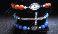 Popular beaded bracelet lucky blue evil eye and crysal cross Bracelet Set BS022