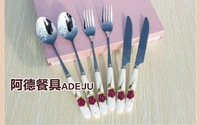 Dinnerware sets tableware dishware stainless steel porcelain knives and forks combination free of shipping