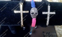 Free Shipping Shamaballa Cross Bracelet And Skull Bracelet Set BS024