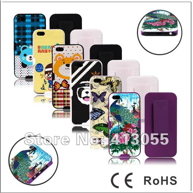 Free shipping 10pcs/lot Beautiful design Hard Rubber Gel Case Cover w/ Belt Clip Holster 2in1 Combo For iPhone 5 5G, Mix color(China (Mainland))