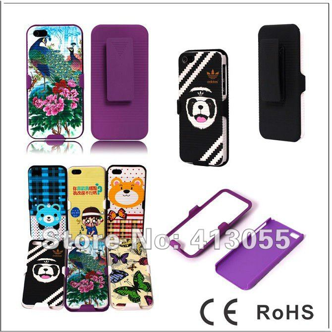 Free shipping 100pcs/lot Beautiful design Hard Rubber Gel Case Cover w/ Belt Clip Holster 2in1 Combo For iPhone 5 5G, Mix color(China (Mainland))