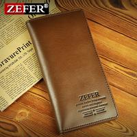 Zefer male long design wallet cowhide wallet purse multifunctional wallet