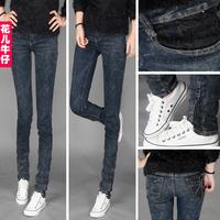 wholesale Vintage Dark Blue jeans lace elastic pencil pants skinny pants women's trousers