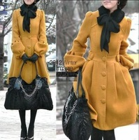 2013 Winter Outerwear New Arrival Women's Lantern Sleeve Woolen Medium-long Overcoat Cashmere Overcoat Fur Collar