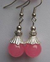 Hot Sell ! Beautiful tibet silver 12mm Pink Jade beads Earring