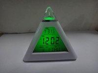 Freeshipping 7LED Colors  Pyramid Digital LCD Alarm Clock Thermometer  ABS LED  Clock