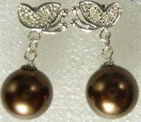 South Seas 10mm coffee sallei pearl earrings diamond butterfly girlfriend gifts