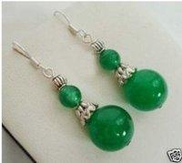 Hot Sell ! free shipping Beautiful tibet silver green jade Earrings