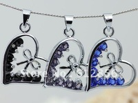 2013 THE NEWEST Heart Bow Color Crystal Necklace,   heart Pendant Necklace