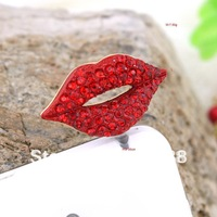 IP169A!10pc/Lot!! Fashion RhinestoneMobile Phone Ornament Ladies' Trendy Red Sexy Lip Jack Earphone Dust Plug