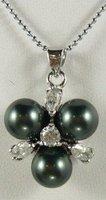South Seas 10mm diamond black shell pearl pendant birthday gift