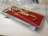 200pcs/lot HOUSE LIZARD  GOLDEN BLING CRYSTAL RHINESTONE DIAMOND CASE COVER