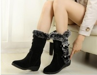 2013HOT  half sown boots, winter fashion black brown warm fur  women casual shoes on sale size 34-39 JD a-1
