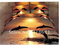 Jumping dolphins over the sea nightfall bed clothes home bed cotton duvet quilt cover set 4pc oil painting selective comforter