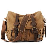 Free shipping New Arrived Cotton men's messenger bag genuine leather+canvas shoulder vintage canvas bag