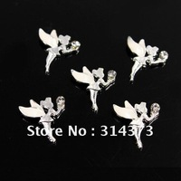 100pcs/lot White Wing Fairy Little Angel Clear Rhinestone 3D Alloy Acrylic Nail Art Tips DIY Phone Case Cover Craft Decoration