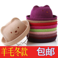 Bear style hat child hat autumn and winter wool infant hat cap