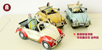 Honorable convertible skateboard beetle model handmade vintage classic metal car models decoration