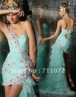 Most Beautiful High Low Panel Train Sweetheart One Shoulder Tulle Net Pleats Applique Light Blue Prom Dress