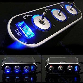 D193 Way Auto Car Cigarette Lighter Socket Splitter 12V Charger Power Adapter PlugDC 12V + USB + LED light Control