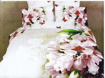 Oil painting bedlinen duvet cover set for full/queen comforter/doona/quilt alternative 4pc 3d pink floral flitting butterfly