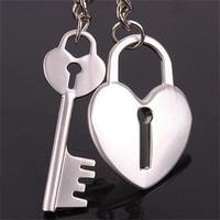 Birthday gift couple key chain key ring one pair of fashion lockbutton glossy love lock 50g