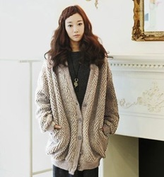Free shipping 2012 women's autumn and winter loose cashmere sweater wool blending thickening sweater cardigan u20651(China (Mainland))