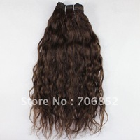 Indian hair 3bundles/lot non virgin remy soft extensions chocolate brown natural wave hair weft mix length 12 14 16 18 20 22 24