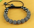 US/UK 11*10MM Transparent gray CZ Crystal disco balls Shamballa Bracelets SL925