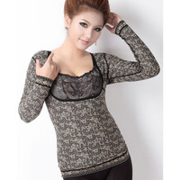 Thickening sheep cashmere thermal shaper long-sleeve thermal underwear beauty care clothing slimming thermal clothing