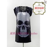 free shipping Summer women's full paillette punk skull short-sleeve loose long design plus size slim hip t-shirt dress Blazers