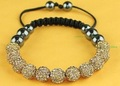 US/UK HOT 11*10MM Golden CZ Crystal disco balls Shamballa Bracelets SL925