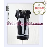 free shipping Women's new arrival summer paillette black and white cat print plus size loose long design t-shirt plus size shirt
