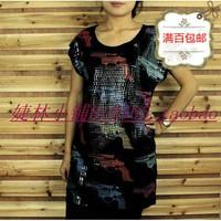 free shipping Women's full paillette sexy charm short sleeve length slim t-shirt cotton t-shirts