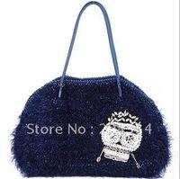 Hot sale-2012 Fashion ladies' handbag, Skull leisure bag,Crystal diamond shoulder bags for Christmas gifts free shipping