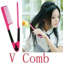 DIY Salon Folding Hair dress Hairdressing Styling Hair Straightener V Comb Tool[000120](China (Mainland))