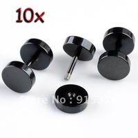 10pc Black Stainless Steel Barbell Ear Stud Men's Earrings Fashion 7mm Free shipping