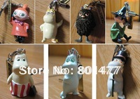 5 Sets of 35pcs Cartoon Moomin Valley Snufkin Floren Hippo Figure Cell Phone Strap (1 Set = 7pcs),free shipping