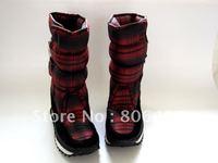 snow boots waterproof plaid