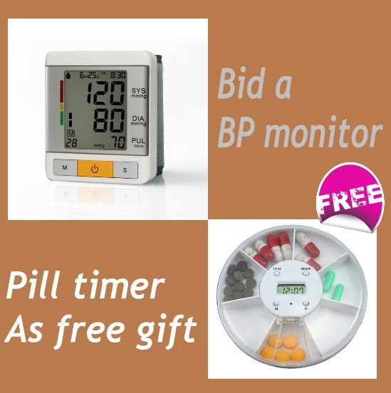 Free shipping Deluxe wrist type blood pressure monitor large LCD get a free gift pill timer(China (Mainland))
