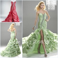 Real Sample Mermaid Sweetheart Ruched Crystal Long Dresses Evening 2012