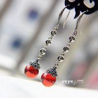 LAOYINJIANG vintage silver earrings accessories agate garnet anti-allergic tassel 925 pure silver earrings
