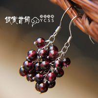 Free Shipping  925 pure silver earrings garnet tassel