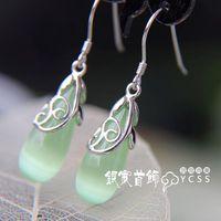 Silver jewelry LAOYINJIANG vintage 925 pure silver drop earring - eye drop tassel silver earrings