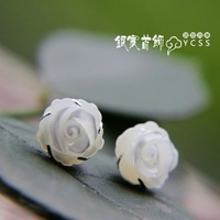 LAOYINJIANG silver vintage 925 pure silver stud earring natural shell rose thai silver stud earring