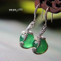 Silver jewelry LAOYINJIANG 925 pure silver earrings white - eye silver earrings agate drop earring